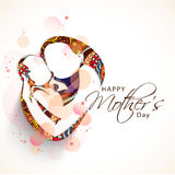 Happy Mothers Day celebration concept with sketch of mom and her child. Royalty Free Stock Photography