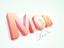 Happy Mothers Day celebration with 3D text Mom. Royalty Free Stock Images
