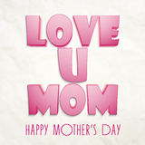 Happy Mother's Day celebration with glossy pink text. Royalty Free Stock Photos