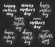 Happy mother's day chalk typography card set. Royalty Free Stock Photos