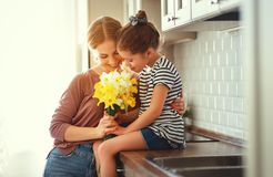 Happy mother`s day! child daughter   gives mother a bouquet of flowers to narcissus and gift. Happy mother`s day! child daughter congratulates mother and gives a stock photos