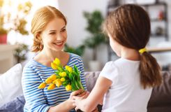 Happy mother`s day! child daughter gives mother a bouquet of flowers to tulip and gift stock images