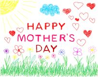 Happy mother´s day child hand draw Royalty Free Stock Photography