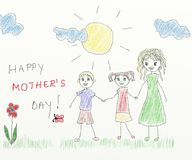 Happy mother's day - children drawing Royalty Free Stock Photo