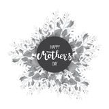 Happy Mother's day circle greeting card with calligraphy and flowers isolated on the white background. Stock Photos