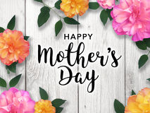 Happy Mother`s Day Colorful Graphic. Mother`s Day graphic with colorful flower border Royalty Free Stock Photography
