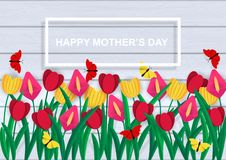 Happy mother`s Day. Colorful set of spring flowers. Colored paper cut out. Happy mother`s Day. Colorful set of spring flowers . Colored paper cut out. Festive royalty free illustration