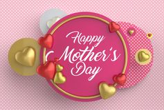 Happy Mother`s day concept. Best Mom. 3D illustrating. Stock Photography