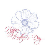 Happy Mother`s Day concept with cosmos flower and Lettering Typography on a white background. Vector illustration for. Cards, banners, print Royalty Free Stock Images