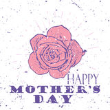 Happy Mother`s Day concept with pink rose flower and Lettering Typography with burst on a Old Textured Background. Vector illustration for cards, banners Stock Images