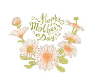 Happy Mother`s Day congratulation card with chamomile Stock Photo