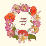 Happy mother's day. Mother's day Congratulation card with flowers Royalty Free Stock Photo