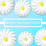 Happy Mother's day congratulation greeting card. Happy Mother's DAY congratulation in the form of paper in the paper text frame on a blue background with white Vector Illustration