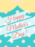 Happy Mother's Day! Cover card design with woman dress of polka dot background. Stock Photos