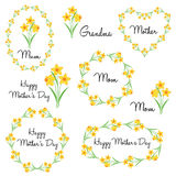Happy mother`s day with daffodils Stock Photos