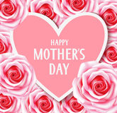 Happy Mother`s Day. Decorative card with pink roses and heart Royalty Free Stock Image