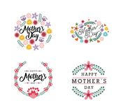 Happy mother`s day design. Happy mother`s day cards with flowers over white background. colorful design. vector illustration Stock Photo