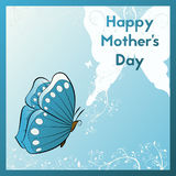 Happy Mother`s Day. E card for your mom. Greeting card with blue butterfly and plants with tendrils. Template postcards vector illustration Stock Photo
