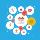 Happy Mother`s Day Flat Icon Layout Design With Gift To Mom, Special Day And Kiss Symbols. Lovely Mom Beautiful Feminine Royalty Free Stock Images