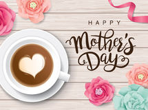 Happy Mother`s Day. Flat lay style mother`s day greeting card with coffee cup and flowers on wooden table royalty free illustration