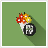 Happy Mother's Day. Flat vector design with colorful bouquet. Happy Mother's Day. Flat design greeting card with colorful bouquet Royalty Free Stock Photos