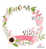 Happy Mother's Day, Floral bouquets with ribbon and heart, vecto Stock Photos