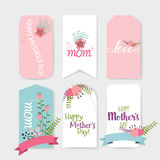 Happy Mother's Day, Floral bouquets with ribbon, vector illustra Royalty Free Stock Image