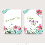 Happy Mother's Day, Floral bouquets with ribbon, vector illustra Royalty Free Stock Photography