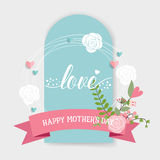 Happy Mother's Day, Floral bouquets with ribbon, vector illustra Royalty Free Stock Photos