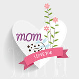 Happy Mother's Day, Floral bouquets with ribbon, vector illustra Royalty Free Stock Photo
