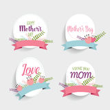 Happy Mother's Day, Floral bouquets with ribbon, vector illustra Stock Image