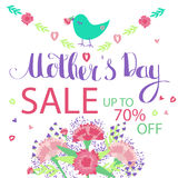 Happy Mother`s Day floral greeting card. Flowers and lettering Stock Photography