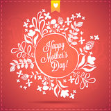 Happy Mother's Day Floral Wreath Blurred Background. Happy Mothers Day Typographical Background With Spring Flowers Stock Photo