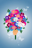Happy Mother's Day Flower Bouquet Illustration. Hand held illustrated flower bouquet with a tag wishing a happy mother's day Stock Photo