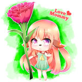Happy Mother`s Day Furry Girl vector illustration