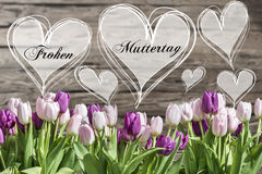 Happy mother`s day german text heart with pink and white tulips rustic wooden background greeting card spring flowers Royalty Free Stock Image