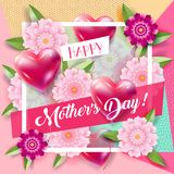 Mother`s Day greeting blossom floral decoration card Royalty Free Stock Photos