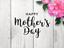 Happy Mother`s Day. Mother`s Day graphic with bright pink flower Stock Image