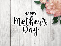 Happy Mother`s Day. Mother`s Day graphic with bright pink flower Stock Photos