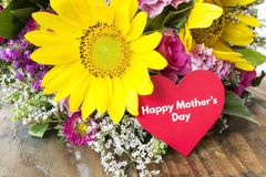 Happy Mother`s Day,  Greeting Card,  with Bouquet of Flowers Royalty Free Stock Photos