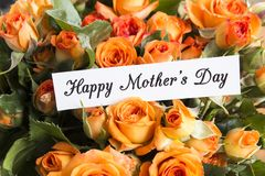 Happy Mother`s Day,  Greeting Card,  with Bouquet of Orange Rose Stock Photography