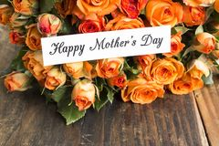 Happy Mother`s Day,  Greeting Card,  with Bouquet of Orange Rose Stock Photo