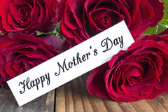 Happy Mother`s Day,  Greeting Card,  with Bouquet of Red Roses Royalty Free Stock Images