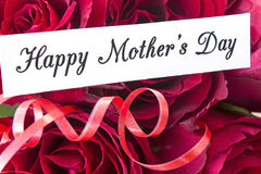 Happy Mother`s Day,  Greeting Card,  with Bouquet of Red Roses Stock Images