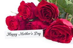 Happy Mother`s Day,  Greeting Card,  with Bouquet of Red Roses Royalty Free Stock Image