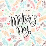 Happy mother`s day - Greeting card. Brush calligraphy on floral hand drawn pattern background. Vector illustration Royalty Free Stock Image