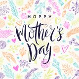 Happy mother`s day - Greeting card. Brush calligraphy on floral hand drawn pattern background. Vector illustration Royalty Free Stock Images