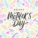 Happy mother`s day - Greeting card. Brush calligraphy on floral hand drawn pattern background. Vector illustration Stock Photo