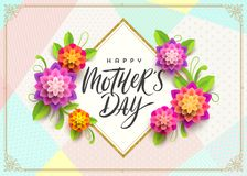Happy mother`s day - Greeting card. Brush calligraphy greeting and flowers on pattern background. Vector illustration Stock Images