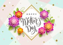 Happy mother`s day - Greeting card with brush calligraphy greeting and flowers. Vector illustration Royalty Free Stock Images
